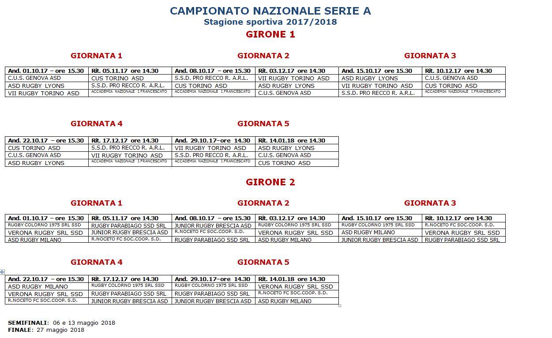 Torino Fc Calendario.Serie A Rugby Il Calendario Di Colorno Noceto E Accademia