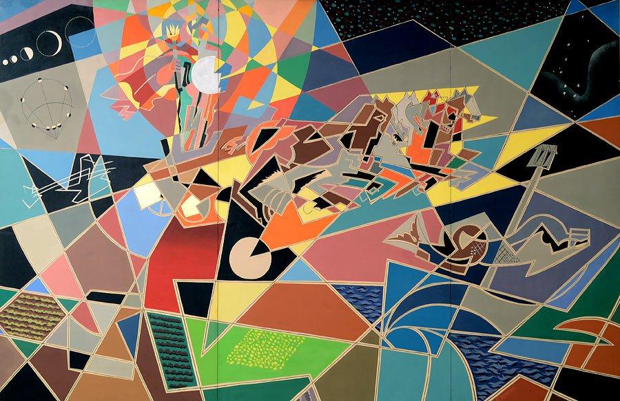 Gino-Severini-Zeus-partorito-dal-sole-1954-tempera-e-collage-su-cartoncino-cm-2715-x-412