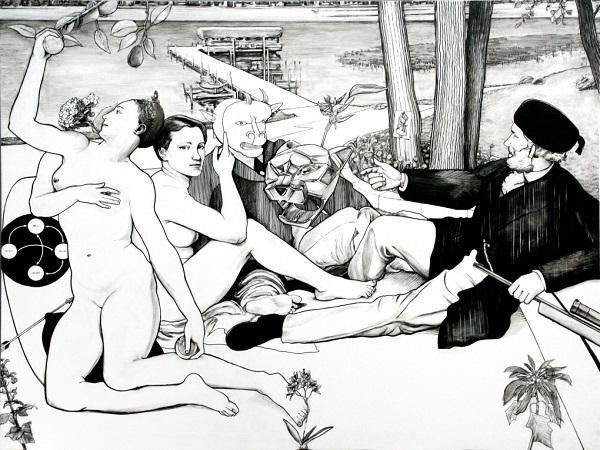 Untitled-Déjeuner-sur-l'herbe-pennarello-acrilico-su-pvc-150x200-cm-2006-1020x766